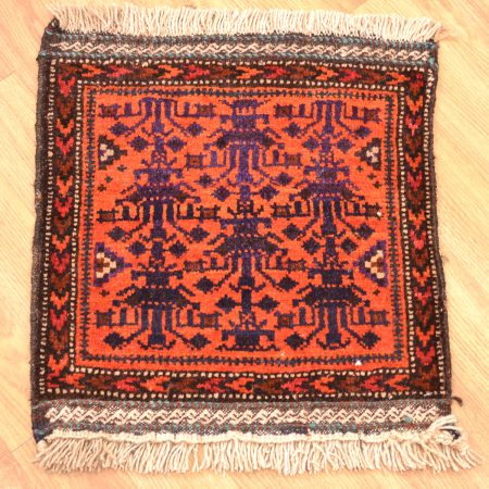 Handknotted small size, orange background Belouch Mat with all over design of plant motifs surrounded by a chevron border.