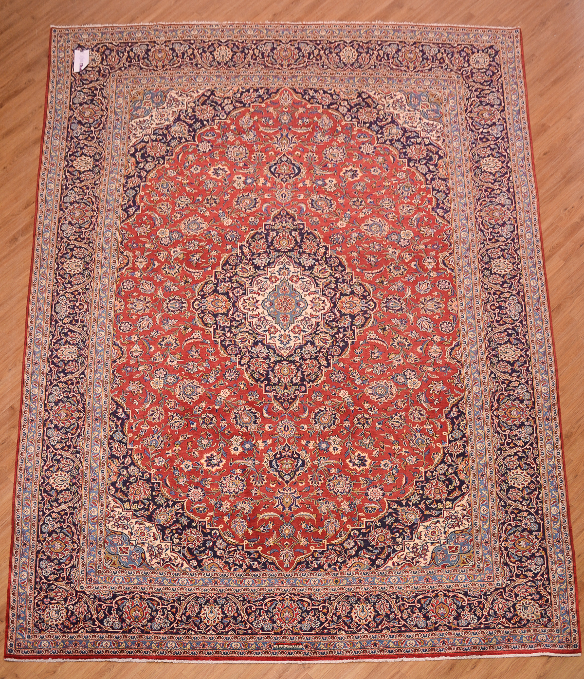 Shop Classical Kashan Medallion Hand Knotted Persian Wool: Persian Kashan Carpet 4.18x3.02m