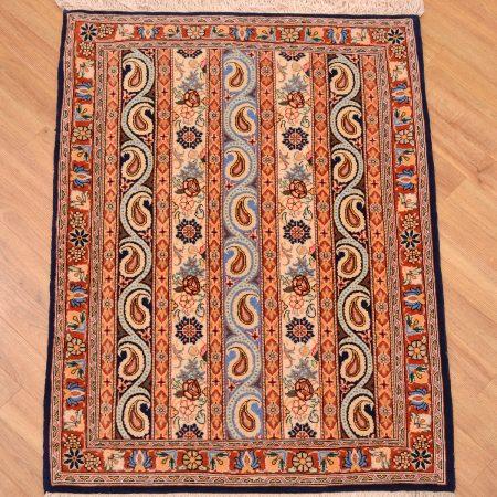 Fine Moharamatt (cane) design wool with silk Persian Qashquli Rug.