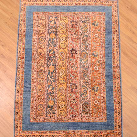 Stylish, handmade, handknotted modern Afghan Shaal / Shawl Rug of stripes or Moharammat design with plain blue border.
