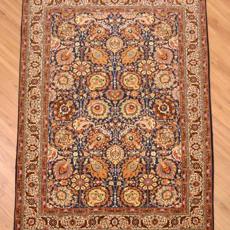 Magical, inscribed Fine Persian Tehran Rug handknotted wool pile knotted onto silk warps.