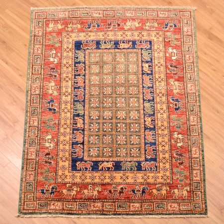 Handknotted Afghan Rug based on the design of the world's oldest surviving carpet the Pazyryk Carpet.