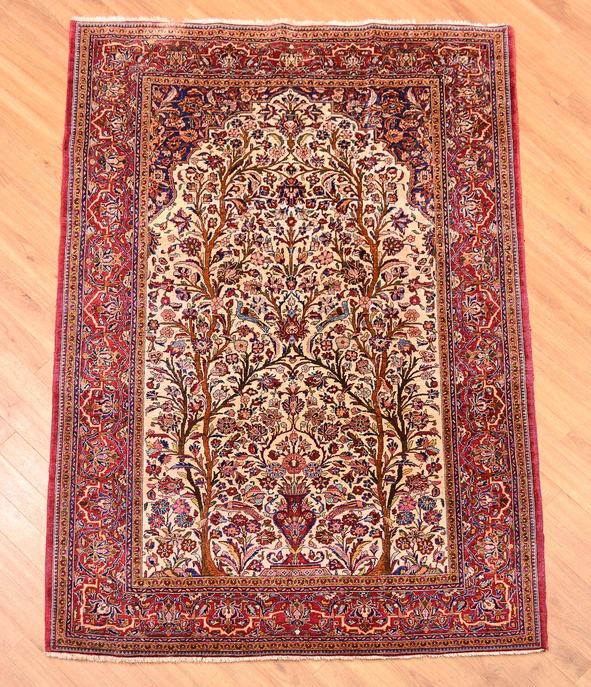 Semi Antique Silk Kashan Rug 1 96x1 31m The Oriental Rug