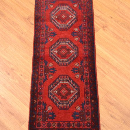 Handmade, handknotted Afghan Khan Mohamadi / Khal Mohamadi, wool knotted onto wool with 3 gul design on a orangey-red background.