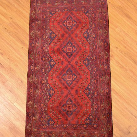 Classic handmade, handknotted wool pile Afghan Khan Mohamadi Runner of traditional design and 4 gul pattern.