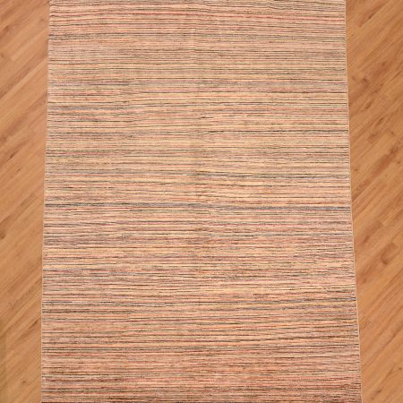Modern handmade, handknotted Pakistan Line Gabbeh Rug featuring a theme of narrow multi-colour stripes.