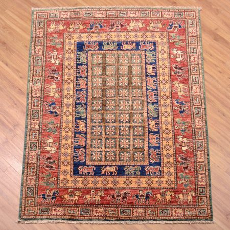 Afghan Pazyryk Rug handmade/handknotted based on the design of the World's oldest surviving pile rug: The Pazyryk of the Hermitage Museum, St. Petersburg, Russia.