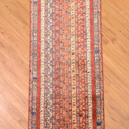 Fine handknotted modern design Afghan Shaal / Shawl Runner Rug with multi-colour striped Moharammat Cane design.
