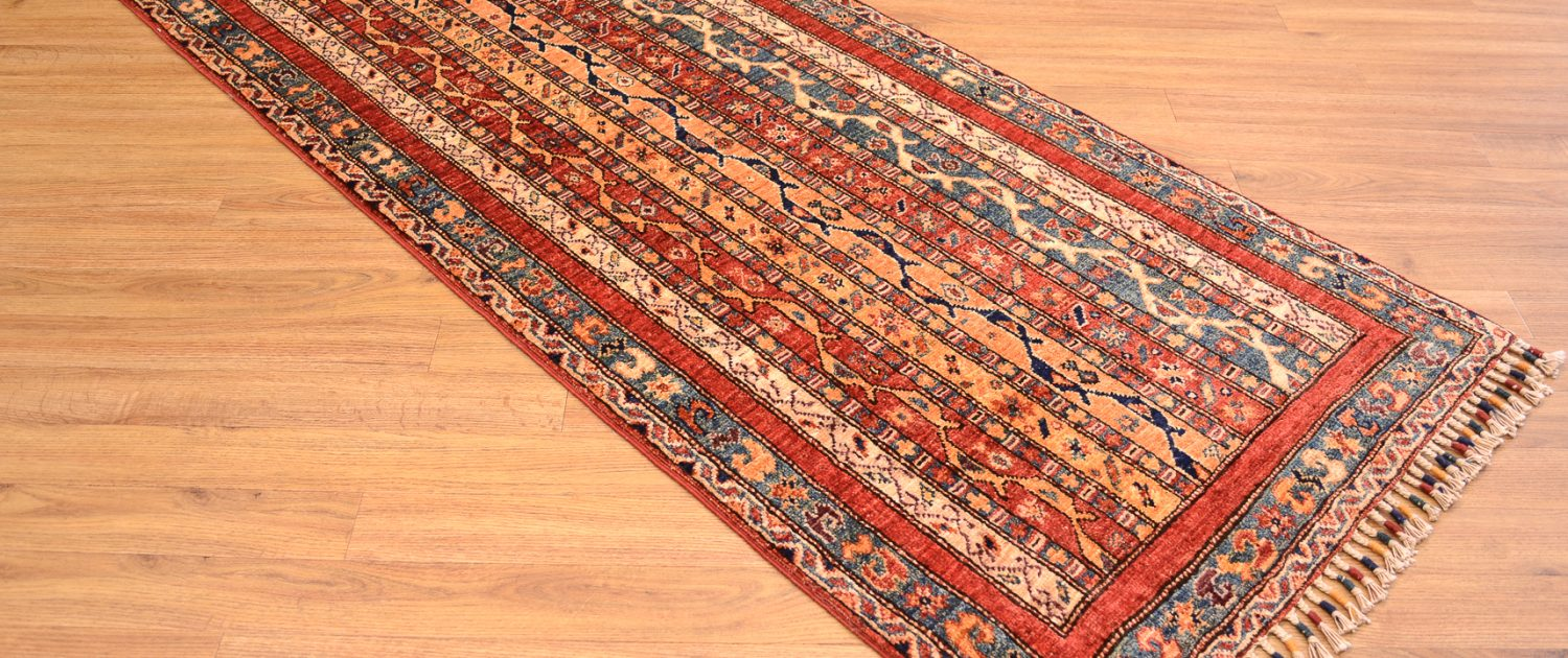 Top quality, handknotted Afghan Shaal Runner of Shawl / Moharammat striped pattern.