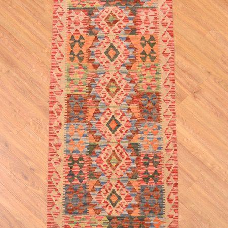 Small size handwoven Afghan Kilim Strip / Runner handmade with Veg-Dye and 6 medallion design.