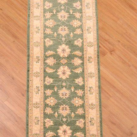 Handmade, handknotted Afghan Green Ziegler Runner of all over floral design.