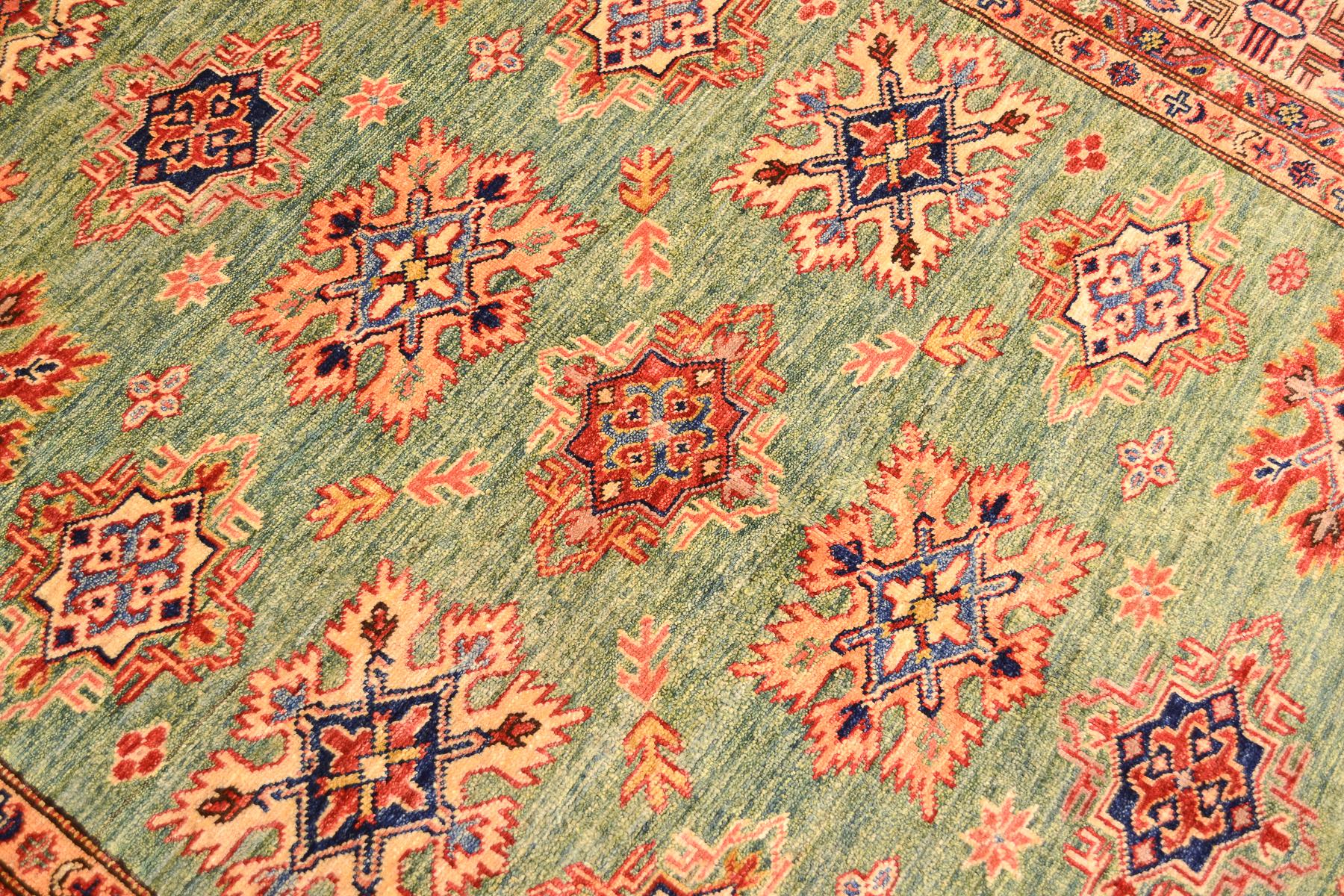 Fine Afghan Green Kazak Rug 1 97x1 46m The Oriental Rug