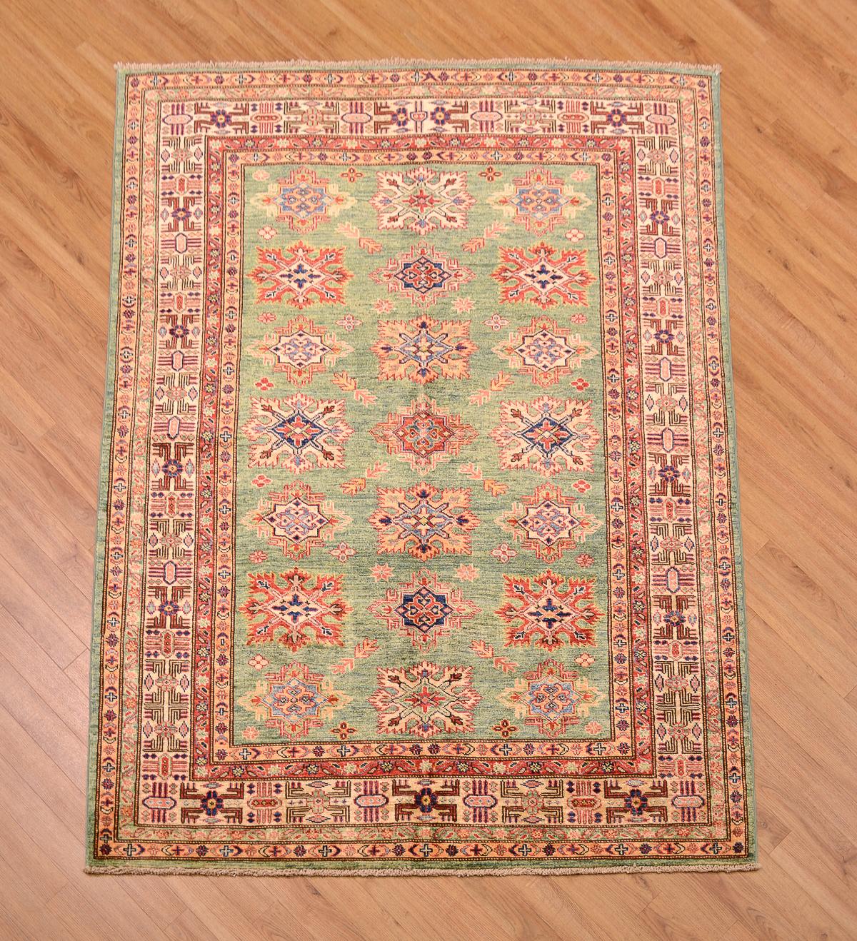 Fine Afghan Green Kazak Rug 1.97x1.46m