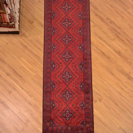 Traditional handmade Afghan Khan Mohamadi Runner hand-knotted with classic design and rich red-brown colour.