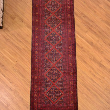 Top quality handmade handknotted Afghan Khan Mohamadi Runner made with wool pile and traditional red-brown colour scheme