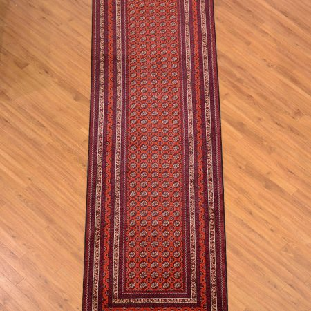 Very fine hand knotted Afghan Kunduz Runner of small gul all over design.