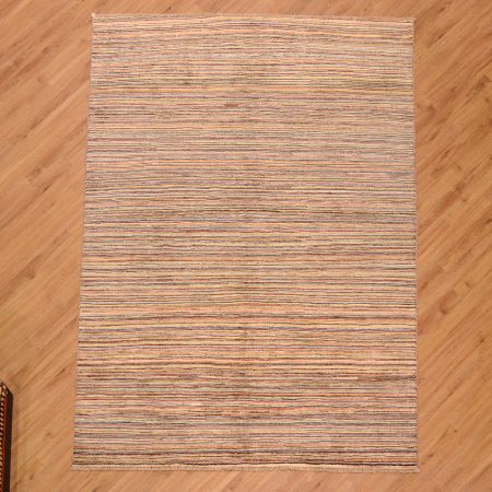 Stylish Modern Line-Gabbeh Carpet handmade in pakistan with a handknotted wool pile and design of multi-colour stripes running across the width of the rug.