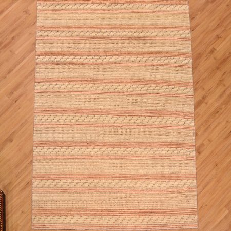 Handmade Modern Maswaak Carpet consisting of a design of stripes in kilim and pile combination.