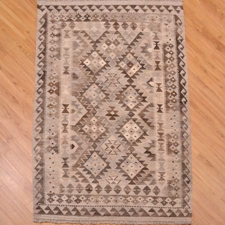 Stylish handwoven Afghan Natural Dye Kilim Rug with all over geometric pattern and colours of grey, beige and brown.
