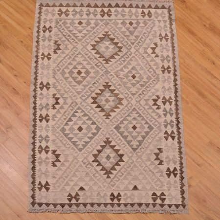 Stylish hand-woven Afghan Natural Dye Kilim Rug of geometric pattern and colours of grey, beige and brown.