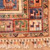 Handknotted Afghan Samarkand Runner of panel design containing animals of goats and peacocks.
