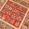 Hand-knotted Afghan Samarkand Runner of panel design containing animals of goats and peacocks.
