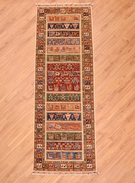 Hand knotted Afghan Samarkand Runner of panel design containing animals of goats and peacocks.