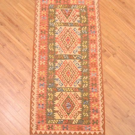 Hand-woven Veg Dye Afghan Kilim Mossul with 3 and a half panelled medallions.