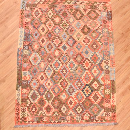 Stunning hand-woven multi-colour Afghan VegDye Kilim with a pattern of diamonds.