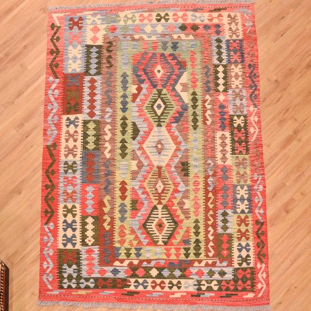 Hand-woven Afghan VegDye Kilim rug of geometric 5 medallion pattern and multi-colour vegetable dyes.