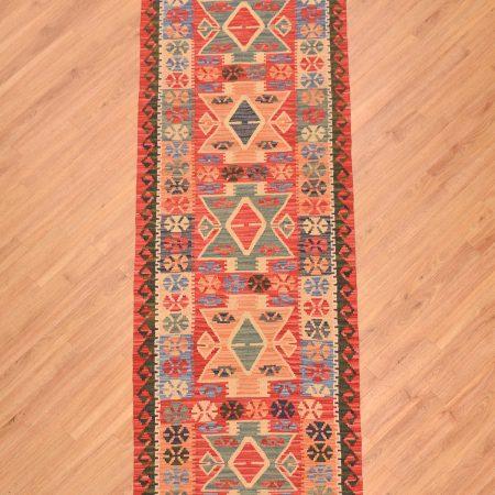 Handwoven flat weave Afghan Veg-Dye Kilim Runner of 5 medallion design.