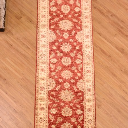 Stylish Afghan Red Ziegler Runner with all over floral design.