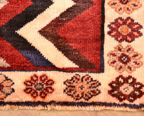 Handmade hand-knotted tribal Persian Zig-Zag Gabbeh Rug made entirely from wool.
