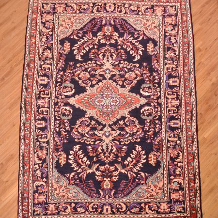 Dark blue ground floral pattern handmade Persian Bakhtiar Carpet