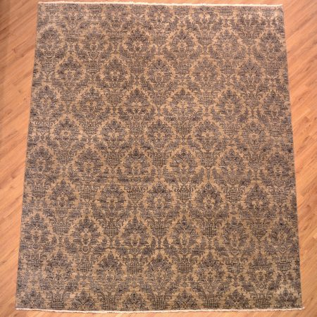 Stylish contemporary handmade, hand-knotted wool pile Indian Damask Carpet of modern floral all over pattern in colours of beige and taupe.