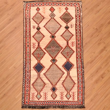 Handmade tribal Old Persian Gabbeh Rug hand-knotted wool pile with natural colour wool with diamond design arrangement.