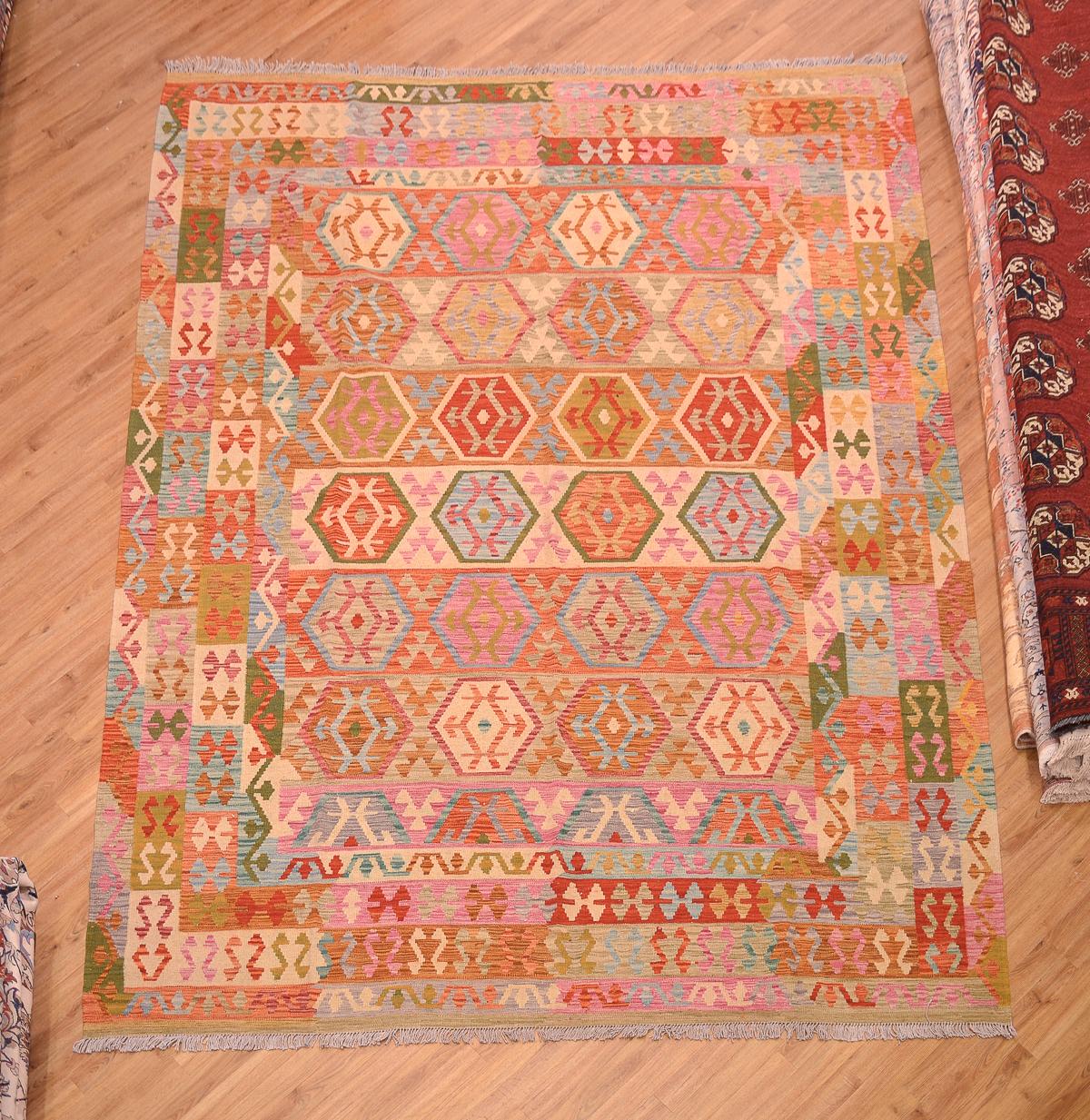 Handmade Large Veg Dye Afghan Kilim