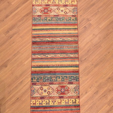 Modern fine handmade Afghan Khorjin Runner with multi-colour stripe pattern based on ancient saddle bags designs featuring animals and amulets.
