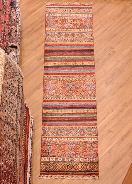 Stylish contemporary Afghan Khorjin Runner with multi-colour stripe pattern inspired by saddle bag motifs.
