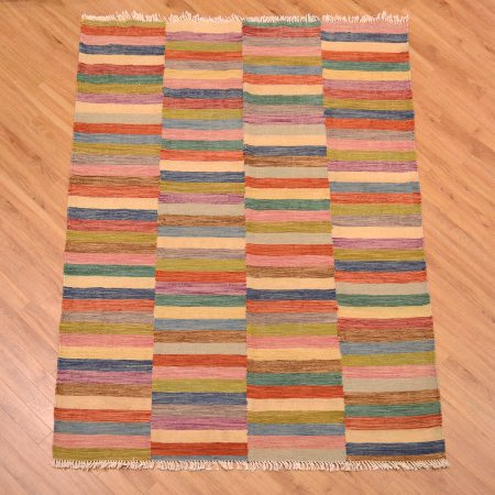 Funky Afghan Modern Kilim Rug handwoven with bright multi-colour block design.