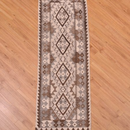 Stylish great value handmade, hand-woven Natural Dye Afghan Kilim Runner with traditional geometric 4 medallion design in trendy colours including grey, brown and beige.
