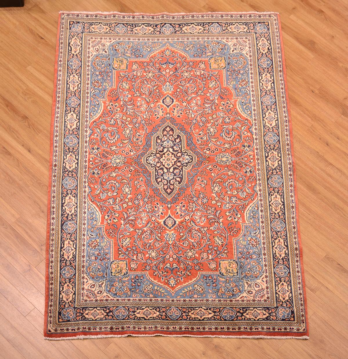 Home & Garden Persian Sarouk 7 X 10 Wool Handmade Floral Medallion Oriental Area Rug Navy Blue