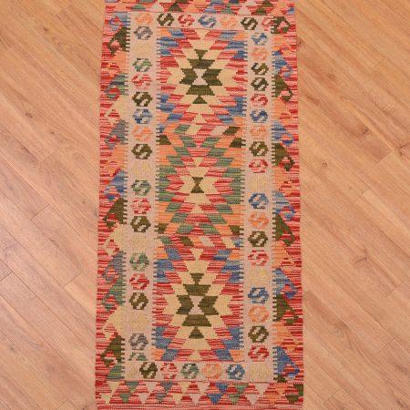 Great value Afghan Veg Dye Kilim Strip / kelim short runner handmade, hand-woven with colourful 3 medallion design.