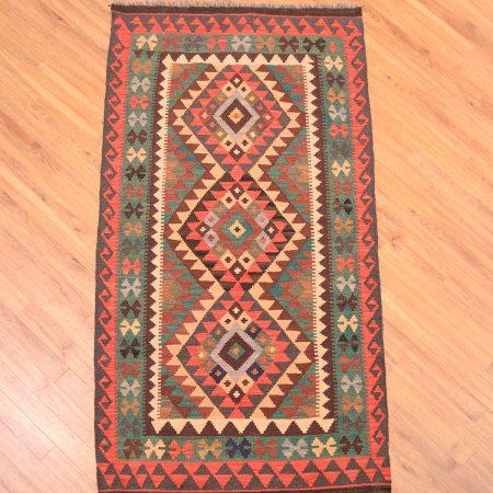 Afghan Veg Dye Kilim Mossul Rug with striking geometric 3 medallion design.