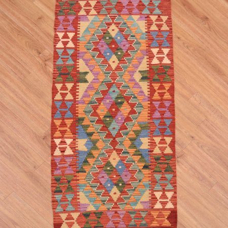 Handwoven Afghan VegDye Kilim Strip with jolly colours and 3 medallion design.