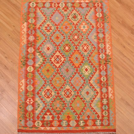 Afghan Veg Dye Kilim Rug flat woven with all over design and vegetable dyes.