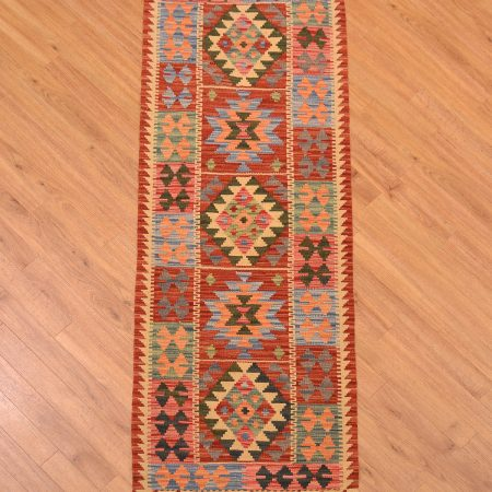 Great value handmade hand-woven Afghan Veg-Dye Kilim Runner with 5 panelled medallion design and panelled border pattern.