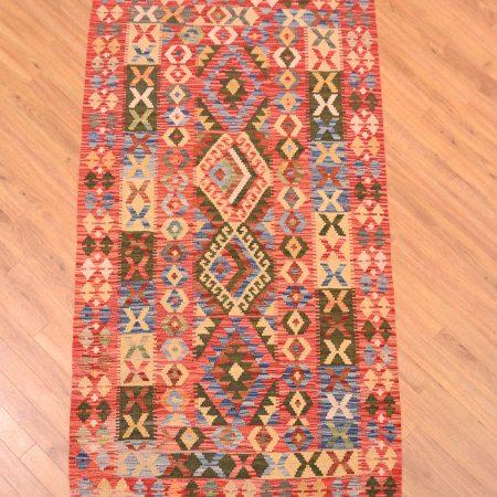 Hand-woven Veg Dye Afghan Kilim Mossul Rug with 4 medallion design.