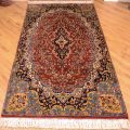 Hand-knotted Indian Amritsar Rug of traditional floral pattern.