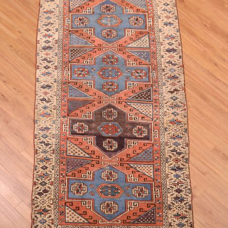 Anatolian Antique Bergama Rug with 4 medallions.